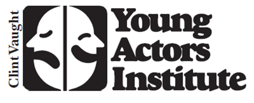 "Text ""Clint Vaught Young Actors Institute"" With Cartoon Faces"